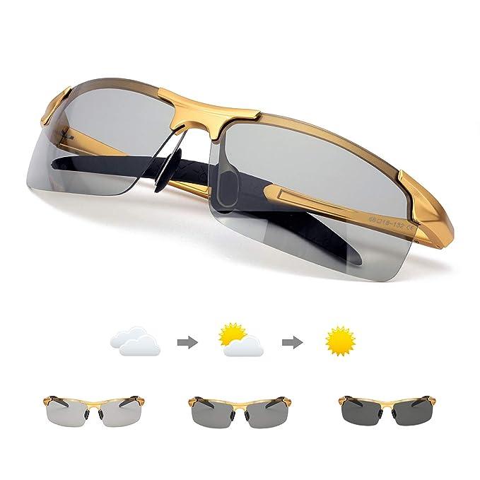 Enafad Gafas de Sol Fotocromaticas con Estructura metálica-Gafas Polarizadas Hombre Protección 100% UVA/UVB