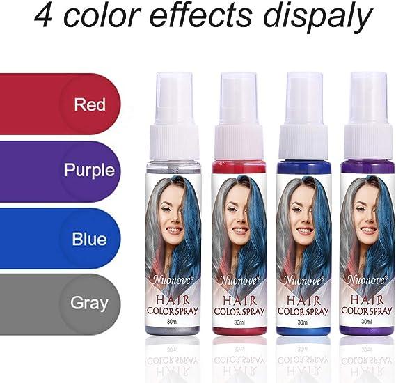 Tinte de Cabello, Spray de Cabello Colorido, Temporales de Cabello, Tiza para el Cabello, 4 Colores Temporal Tiza de Pelo No Tóxicas Lavables Color de ...