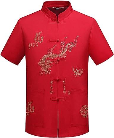 KINDOYO Manga Corta de los Hombres Chinos Tradicionales con el diseño del dragón Traje de la Espiga Camisa de Tai Chi Uniforme de Kung Fu: Amazon.es: Ropa y accesorios