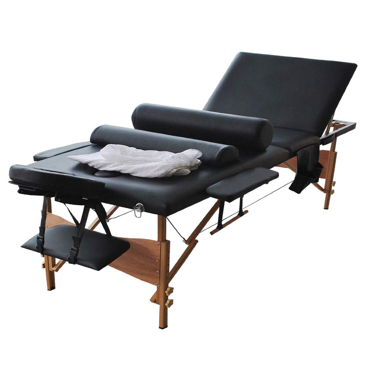 Portable Massage Table, BestComfort Height Adjustable Massage Table 3 Folding Massage Bed Spa Bed Facial Cradle Salon Bed With Carry Case by BestComfort