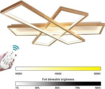 Moderna lámpara Madera LED de techo para salón, regulable