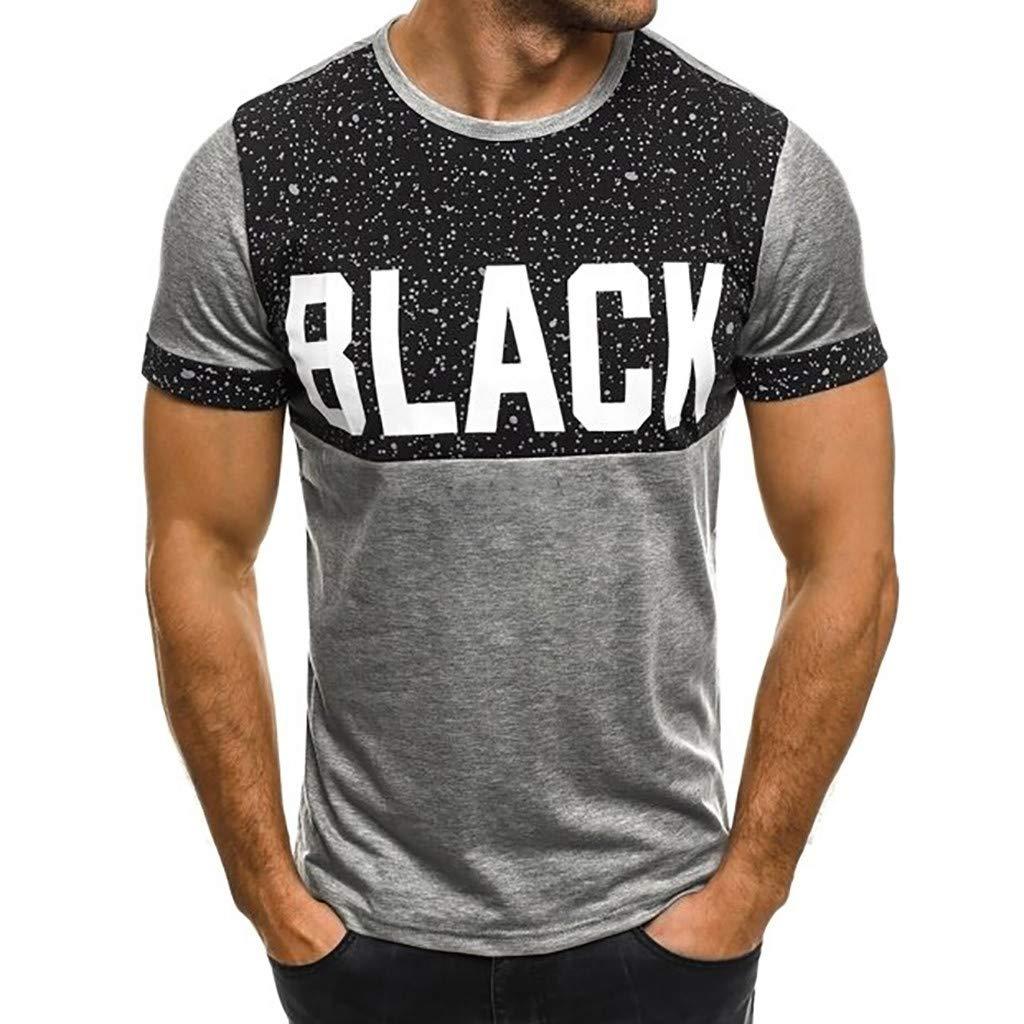 Oliviavan Herren T-Shirt Drucken Kurzarm Blouse M/änner Slim Fit Runde Kragen Fashion T-Shirt Einfaches Shirt Sommer Sport Splicing Printing Tops Vest Sweatshirts Grau B, 2XL