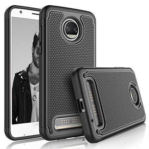 Tekcoo for Moto Z2 Force Case, for Motorola Z2 Force Sturdy Case, [Tmajor] Shock Absorbing [Black] Rubber Silicone & Plastic Scratch Resistant Bumper Grip Hard Cases Cover for Moto Z Force 2017