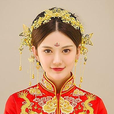 XPY&DGX Accessoires De Cheveux De Mariée En Épingle À Cheveux De Mariage,Costume mariée diadème phénix spectacle kimono kimono cheongsam accessoires chinois ethnique bijoux rouge