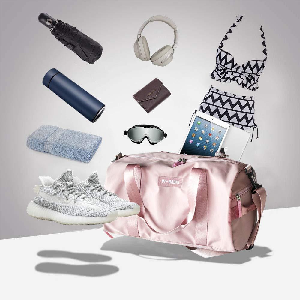 Reisetasche wasserdicht mit Schuhfach Nassfach und Schultergurt Reise-Tasche Reisen Sport Gym Urlaub Taschen SZSYCN Damen Sporttasche Frauen Sporttasche gro/ß pink