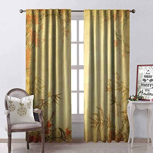 Tapesly Bamboo Heat Insulation Curtain Bamboo Stems and Blooming Flower Antique Grunge Background Oriental Artwork for Living Room or Bedroom W52 x L84 Inch Mustard Vermillion