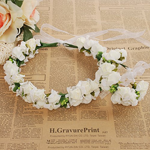 Meiliy Bridal Flower Garland Crown Flower Headband Flower Girl Headpiece Hair Wreath Halo with Flower Wrist Corsage for Wedding Festivals ()