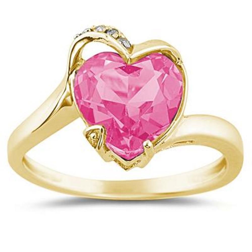Silvernshine Jewels 3.75Ct Heart Shaped Pink Sapphire and Sim ...