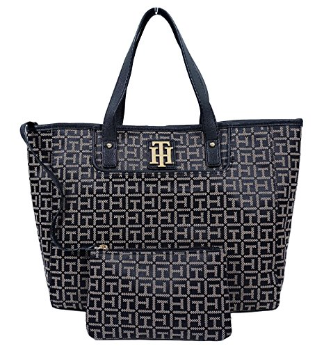 Tommy Hilfiger Small EW Shopper Tote Bag Handbag Purse (Black / Beige) (Black / Beige)