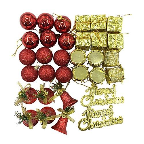 Christmas Ball Glitter Christmas Ornaments Sets Shatterproof 32pcs (Red) (Shatterproof Pinecone Ornament)