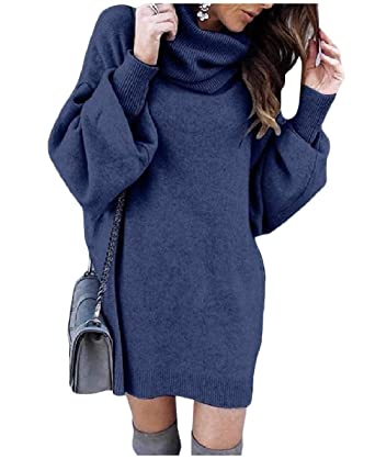 688819ec6d9 Zimaes-Women Bishop Sleeve High Neck Mid Dress Pullover Loose Knitted  Sweater at Amazon Women's Clothing store: