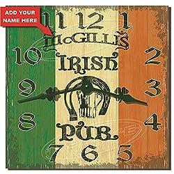 Redeye Laserworks Irish Pub Hardboard Kitchen Clock - Personalized