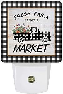 Plug-in Night Light Lamp with Sensor, Farmhouse Truck with Floral on Wood Board, Wall LED Nightlights Auto Dusk to Dawn Sensor for Bedroom,Baby Nursing,Bathroom,Hallway,Home Decor Buffalo Plaid