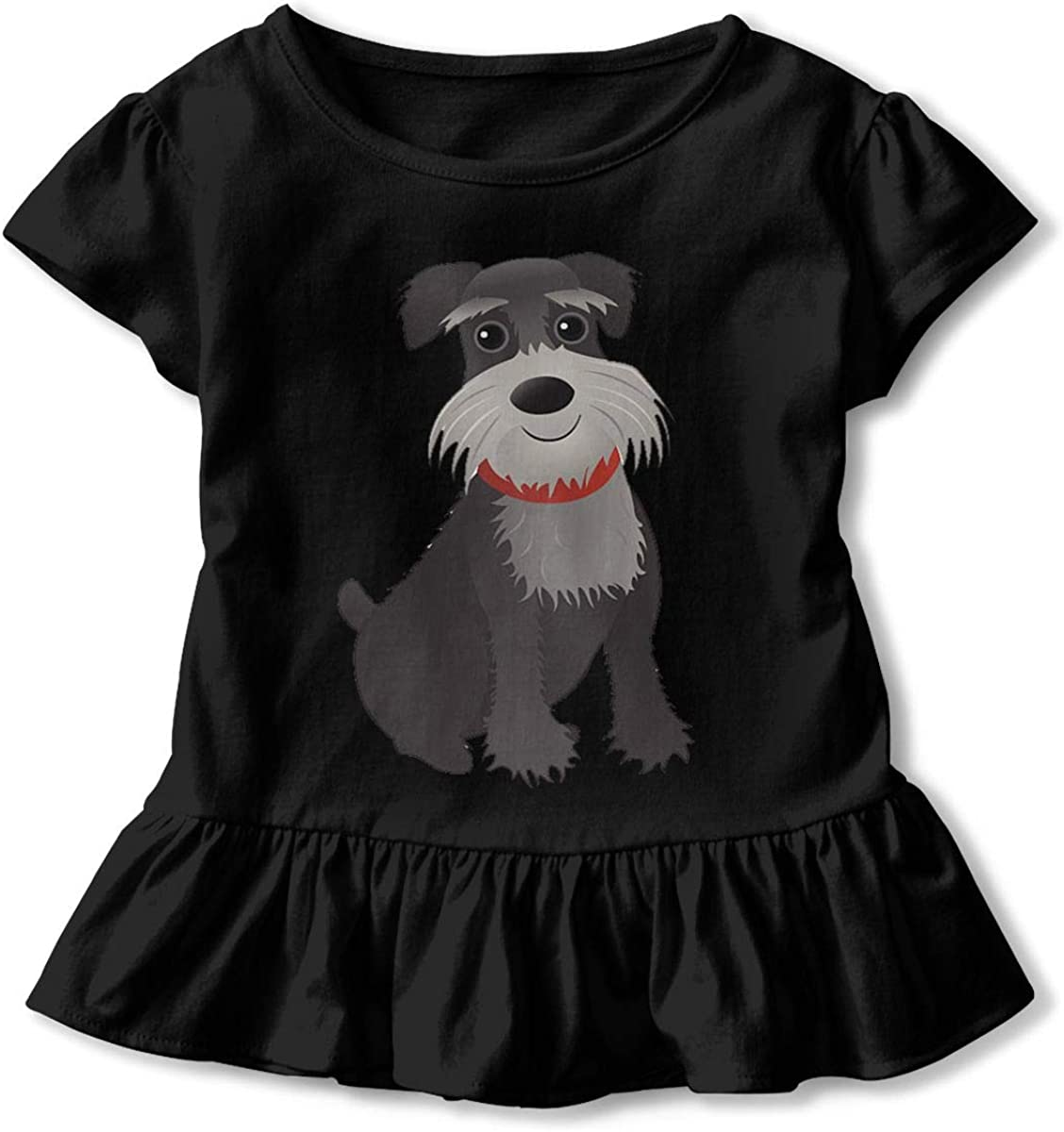 Mini Schnauzer Dog Shirt Baby Girls Ruffles Casual Tops for 2-6 Years Old Baby Black