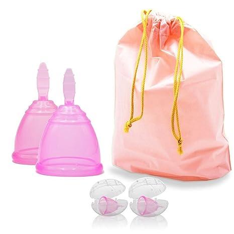 f6f194772901 douperltd Juego de 2 tamaños menstrual vasos con funda de polvo y  impermeable cordón bolsa de almacenamiento reutilizable período tazas hecho  de ...