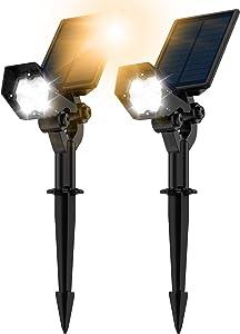 Solar Spot Lights Outdoor-3 Lighting Modes, IP67 Waterproof Solar Landscape Spotlights, 2-in-1 Wireless Outdoor Landscaping Lights for Yard Porch Pool Walkway Patio Cold White Adjustable 2 Pack VOSONX