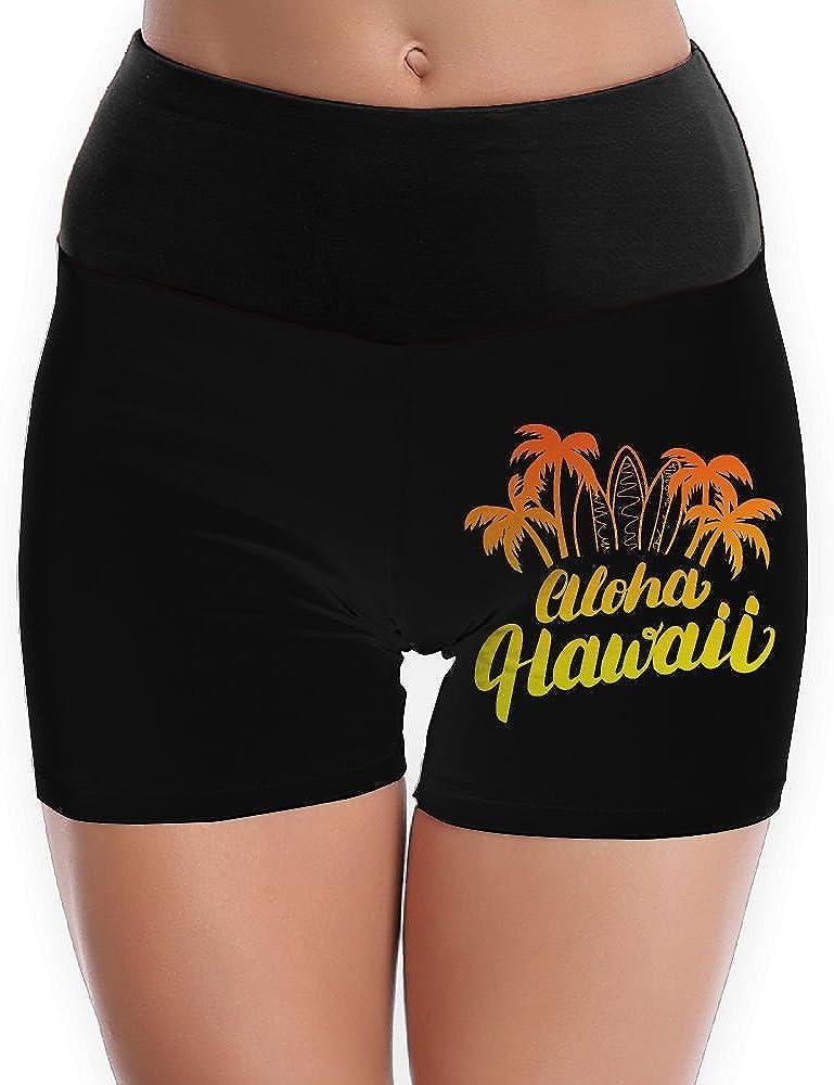 Aloha Hawaii Womens High Waist Yoga Shorts Sport Workout Running Hot Shorts