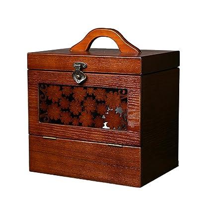 CJC Storage Box Wooden Chinese Style Retro Princess Make Up Jewelry Box  Birthday Marry Gift