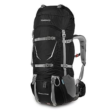 b78d2ac030ca TOMSHOO 70 + 5L Sac à Dos Trekking Imperméable avec Housse de Pluie pour  Sport Randonnée