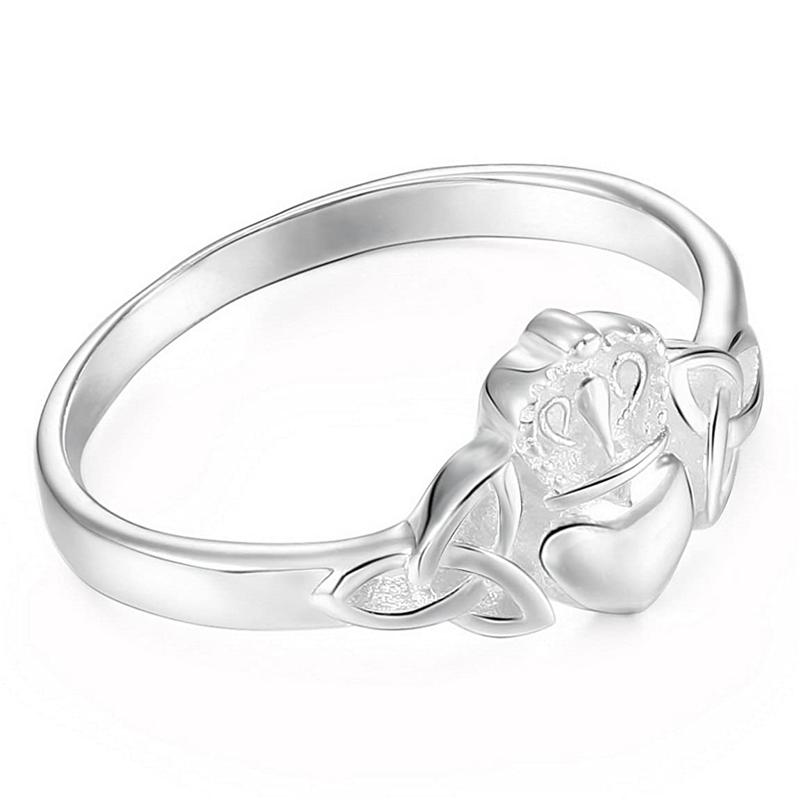 INBLUE Womens 925 Sterling Silver Ring Heart Irish Claddagh Friendship Love Crown Wedding