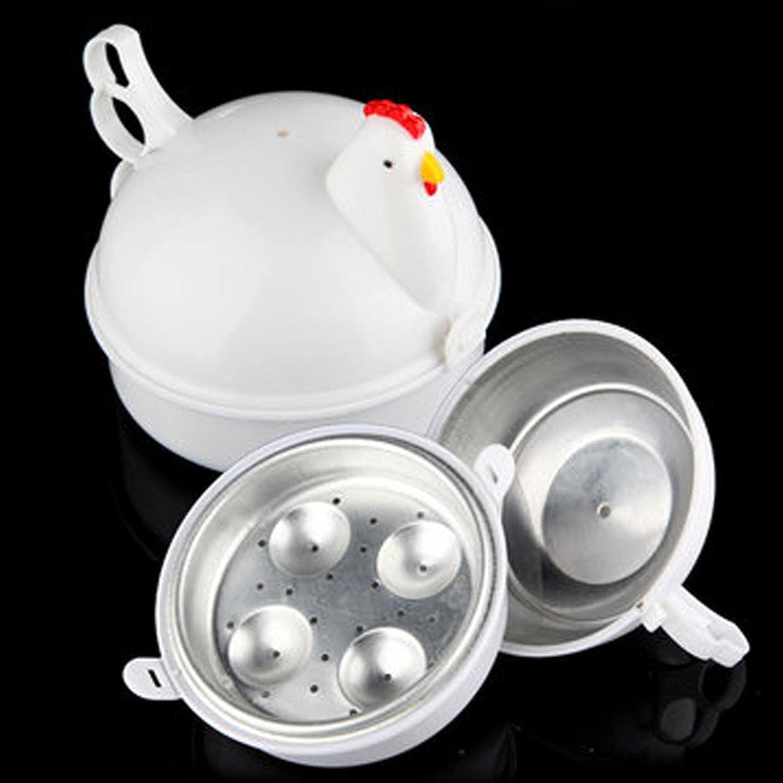 Microwave Poacher Boiled - Chicken Shaped 4 Eggs Boiler Cooker - Microwave Oven Boiler Microwave Egg Steaner Poacher Cooker Boiler - for 4 Eggs Kitchen