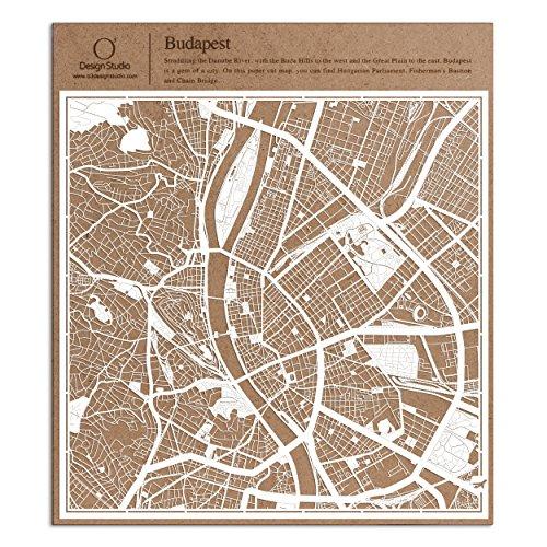 O3 DESIGN STUDIO Budapest Paper Cut Map White 12×12 inches Paper Art]()