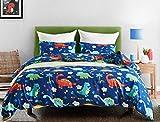 EIGOAL Kids Duvet Cover Set Dinosaurs Blue Comforter Cover Cartoon Cute Bedding Set Soft Lightweight Microfiber Twin/Queen/king Size