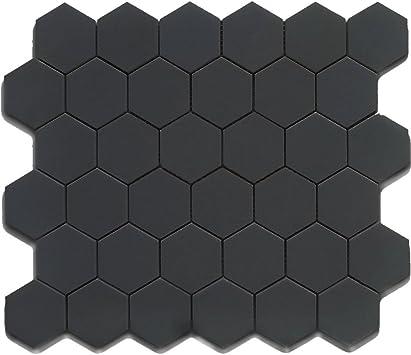 black 2 inch hexagon mosaic matte 10 pieces 10 sqft