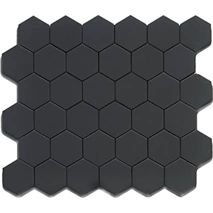 Black 12x12 Hexagon Mosaic 11pcs Carton 11 Sq Ft Ceramic Floor Tiles Com
