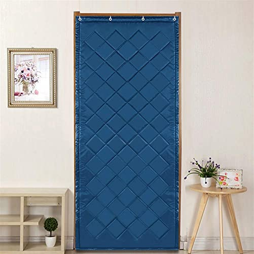 Liveinu Thermal Insulated Door Curtain Windproof Waterproof Fleece Thermal Insulated Blackout Panel Curtian Anti Energy Loss Noise Reducing Blue 54″x89″ Inch