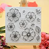 #7: Welcome to Joyful Home 1pc Flower Design Rubber Clear Stamp for Card Making Decoration and Scrapbooking