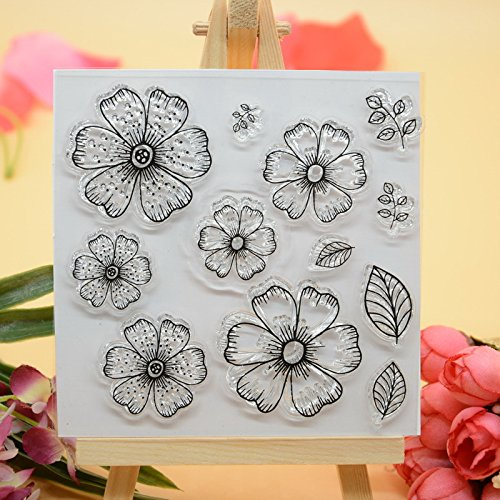 Design Clear Stamp - Welcome to Joyful Home 1pc Flower Design Rubber Clear Stamp for Card Making Decoration and Scrapbooking
