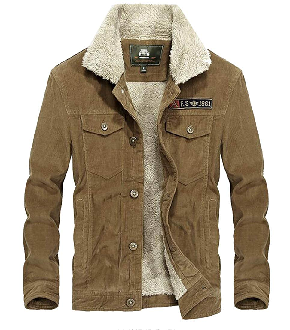 Domple Mens Warm Stand Collar Button Down Corduroy Linen Fleece Jacket Coat