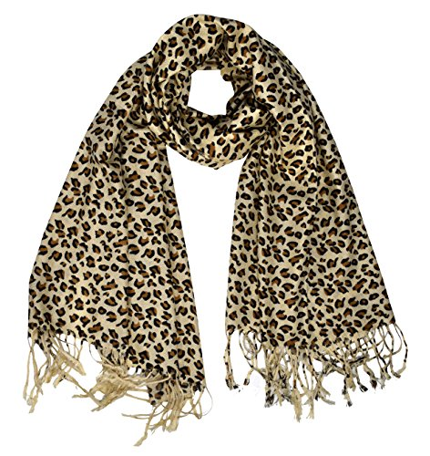 Peach Couture Animal Leopard Print Sheer Scarves Summer Shawls Wraps Fringes (Tan)