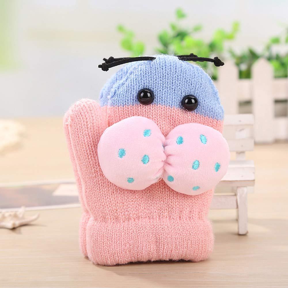 TM Jchen Baby Kids Little Girls Boys Winter Beetle Patchwork Thicken Warm Full Finger Gloves for 0-3 Y