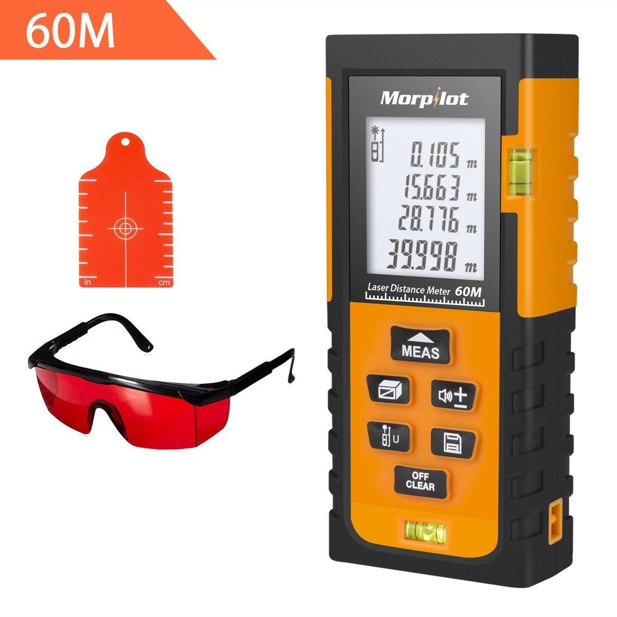 196ft Laser Measure - Morpilot Laser Tape Measure with Target Plate & Enhancing Glasses, Laser Measuring Device with Pythagorean Mode, Measure Distance, Area, Volume Calculatio (196ft)