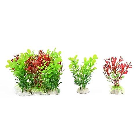 sourcing map Pecera plástico Planta Hierba Artificial paisajismo Ornamento Rojo Verde 10 en 1