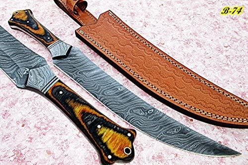 Poshland REG-B-74, Handmade Damascus Steel 15 inches Hunting Knife - Beautiful Two Tone Micarta Handle with Damascus Steel Guard