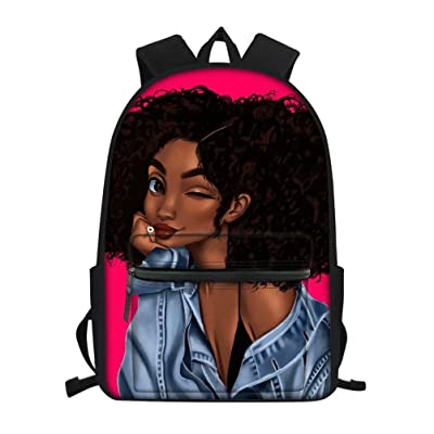 Aulaygo Afro Girls School Backpack Bag for Kids Lovely Bookbag with Black American Girl Pattern Cool Daypack for Girls | Kids' Backpacks