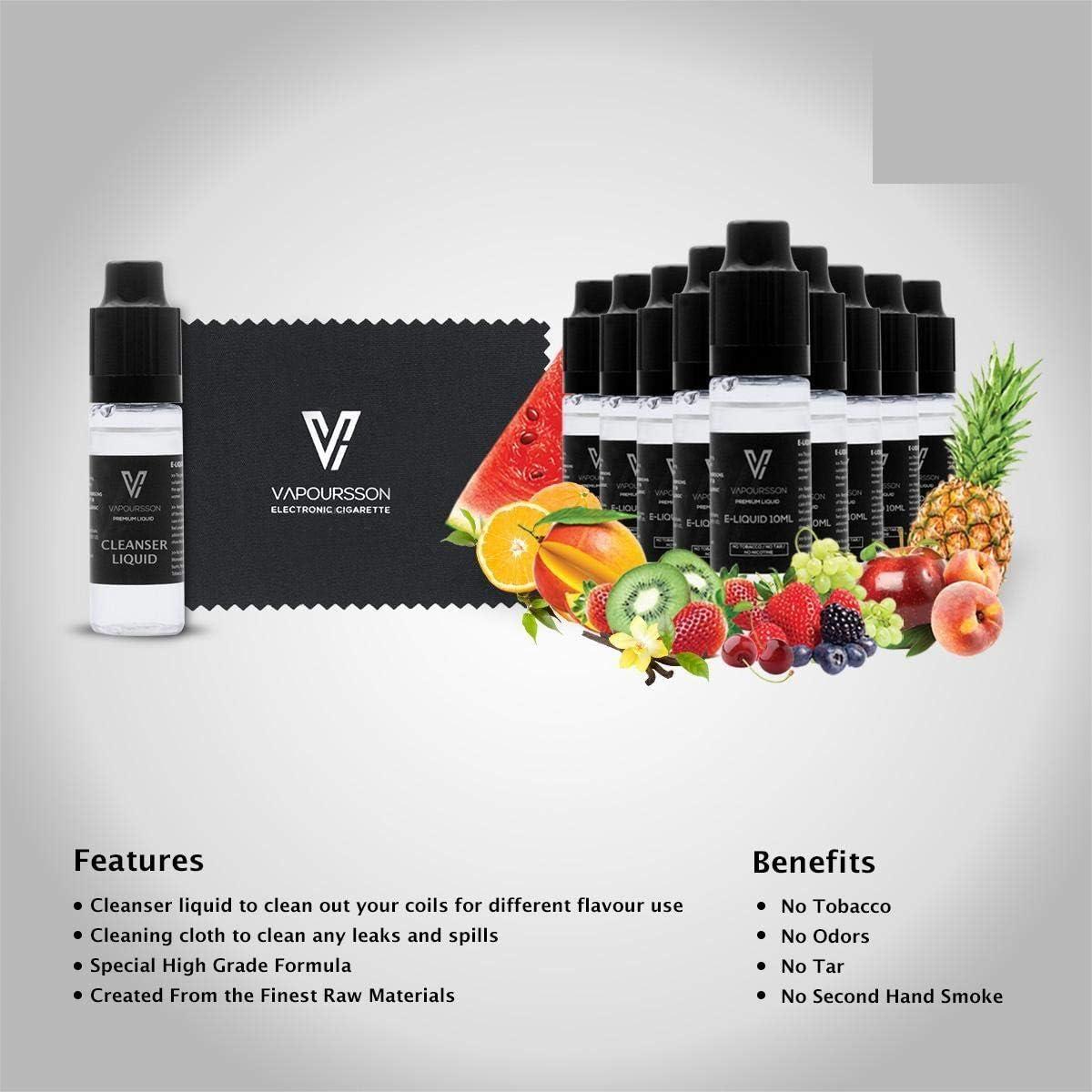 VAPOURSSON Primera mezcla de frutas limpiador Pack | 10 X 10ml E Líquido | Limpiador Líquido | Nuevo paño de limpieza Eliquid especial | Nueva fórmula hecho para el cigarrillo electrónico y e