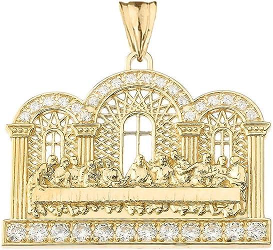 10k Gold Round Last Supper Pendant