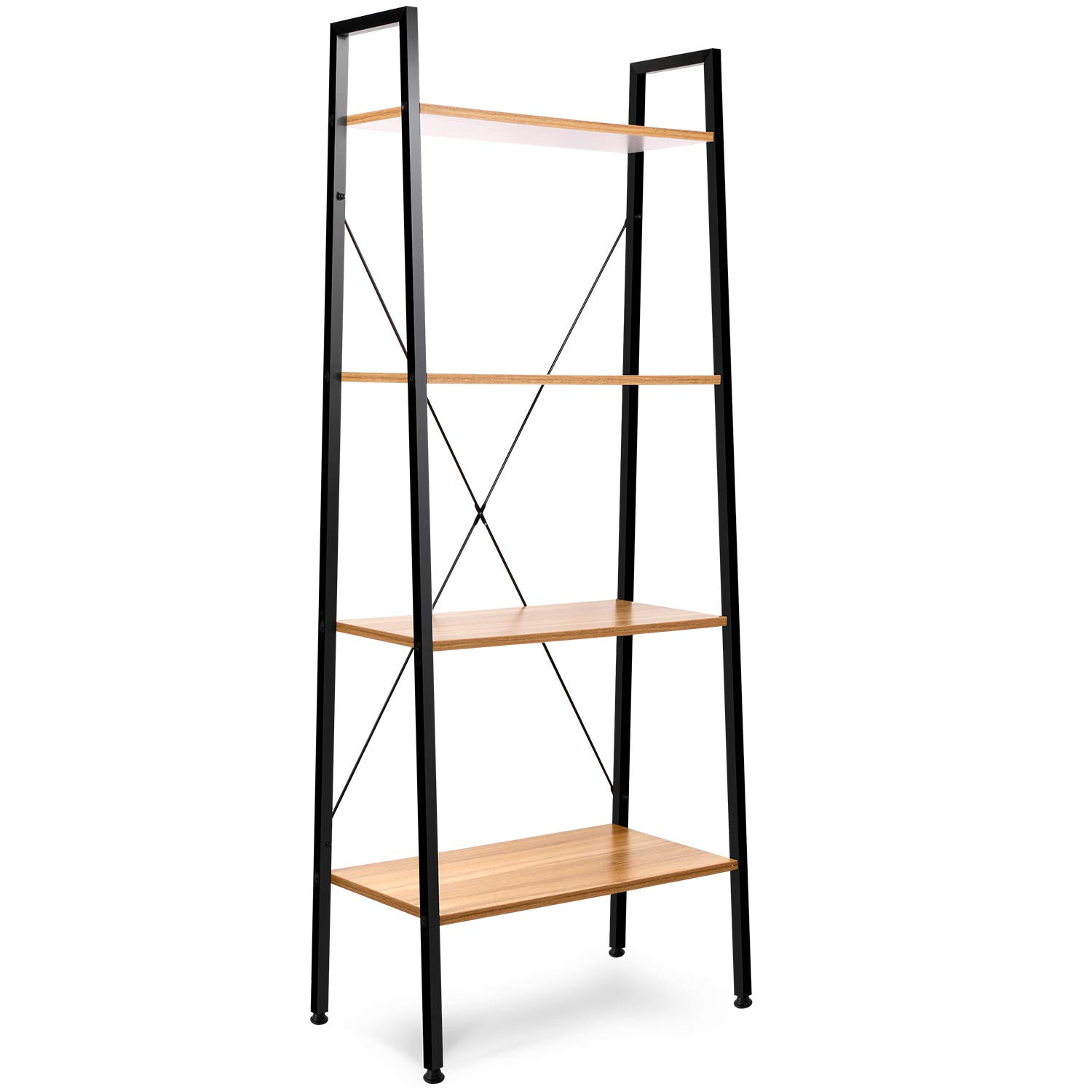 Leopard Ladder Shelf - Bookshelf - Multifunctional 4-Tier Ladder-Shaped Bookcase, Storage Rack Shelf, Bookrack Storage Shelves, Bathroom, Living Room (Nordic Walnut) by Leopard Outdoor Products