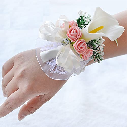 Corsage bracelet amazon gsch white wedding bride bridesmaid pearls calla lily hand wrist flower corsage adjustable bracelets for girls mightylinksfo