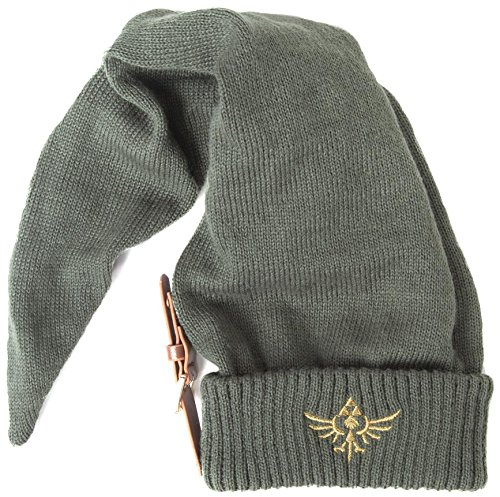 Meroncourt KC060214NTN Nintendo Legend of Zelda Long Pointed Elvish Hat with Embroidered Royal Crest Logo Beanie, Green, One Size]()