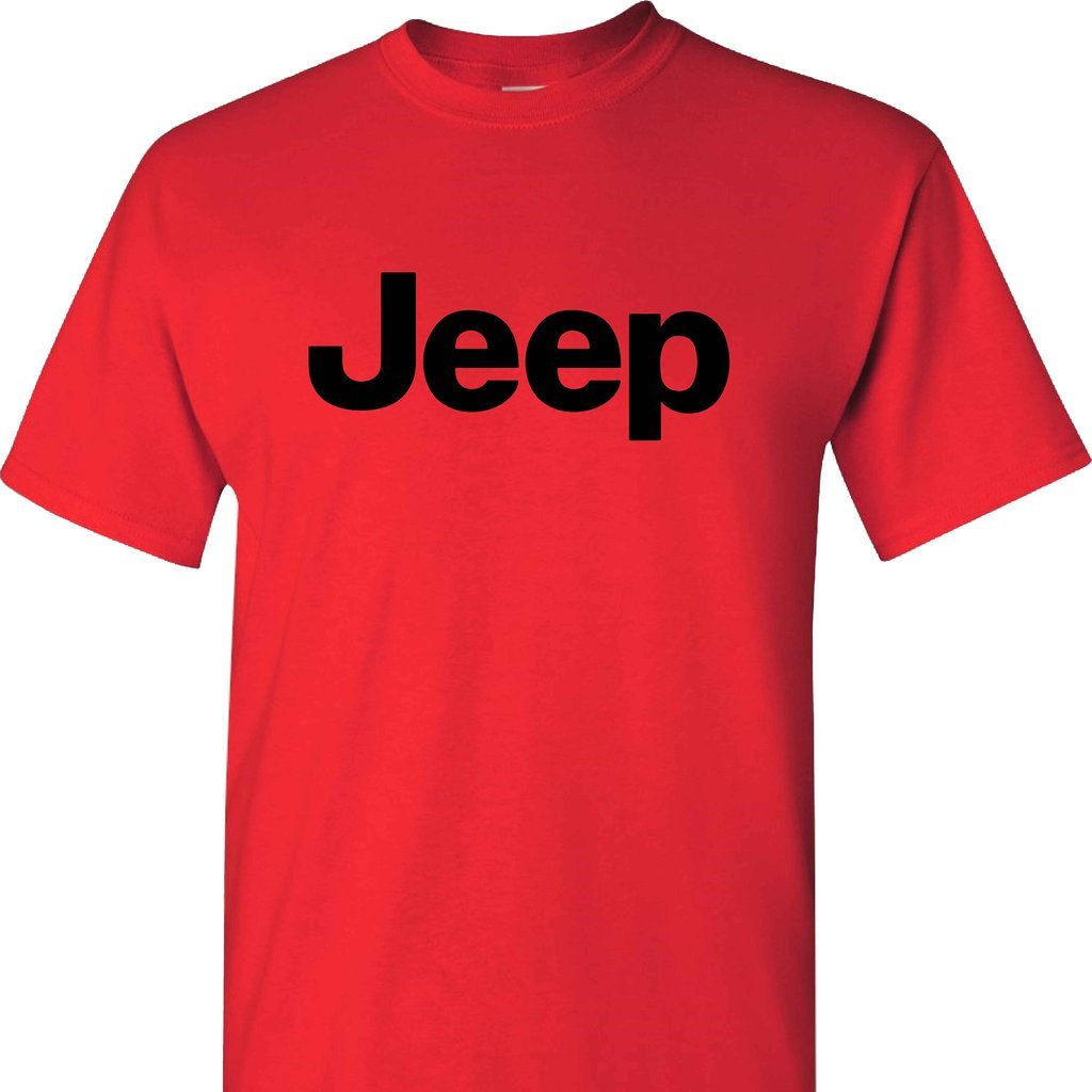 Jeep Logo on a Short Sleeve Red T Shirt