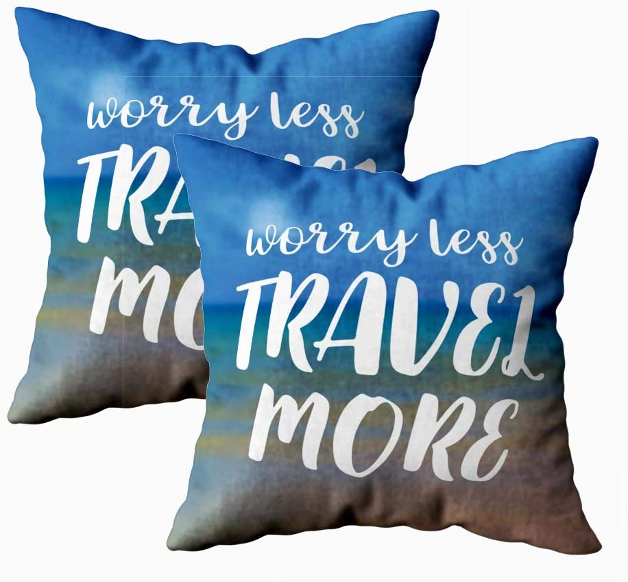Amazon Com Bisead Throw Pillow Covers Soft Pillow Case Pack Of 2 18x18inch Worry Less Travel More Beautiful Seaside View Poster Background Typography Decorative Pillow Cases For Bedroom Home Kitchen