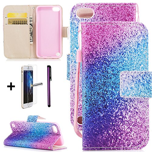 iPod Touch 5 Case iPod Touch 6 Case ISADENSER Wallet with Screen Protector Magnetized Closure Card Holder Slots Money Pouch Stylish Slim Stand Flip Cover PU for iPod Touch 5 Case Pink Blue Glitter YX ()