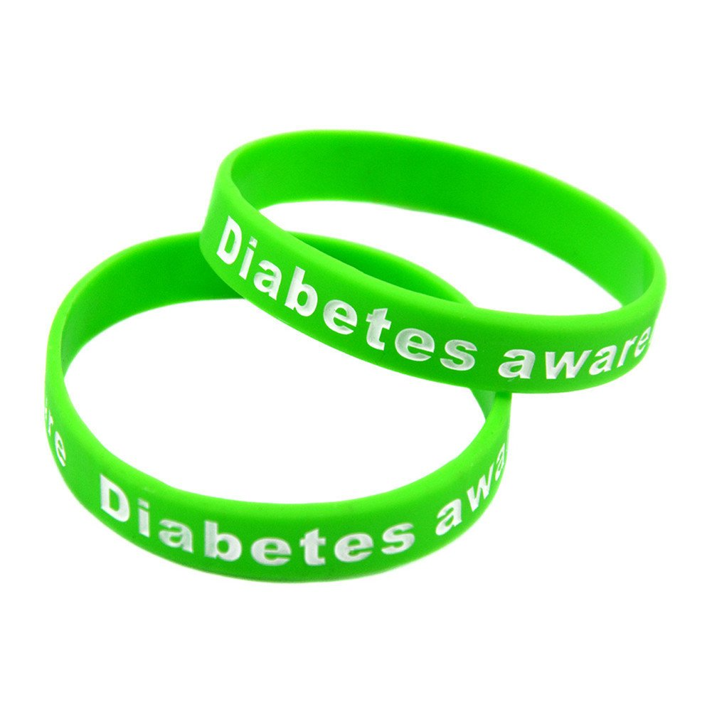 Comfybuy CF 2 3 Pack Adult's Type Diabetes Awareness Identification Bracelet Inspirational Silicone Hope Medical Alert Wristband Bangle for Outdoor Indoor Emergency, 20cm, Black, Red, Green Comfybuy Jewelry CF-ADE-2017070612-B