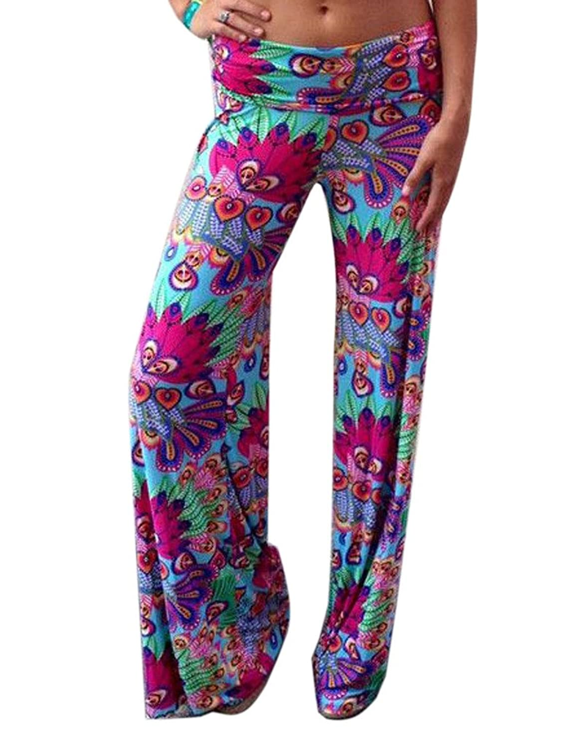 Clothink Women Multicolor Tribe Pattern Loose Palazzo Pants