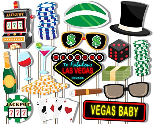 Las Vegas Casino Photo Booth Props Kit - 20 Pack Party Camera Props Fully Assembled (Las Vegas Birthday)